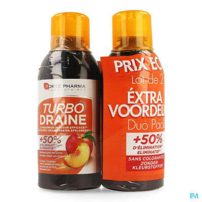 Turbodraine Groene Thee Perzick Duo 2x500ml